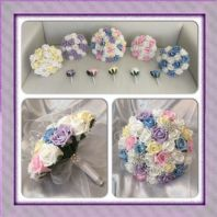 ARTIFICIAL BRIDE PASTELS RAINBOW ROSE BROOCH CRYSTALS WEDDING BOUQUETS SPARKLY